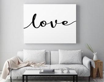 Large Love Canvas, Custom Love Print, Large Format Home Decor, Love Sign