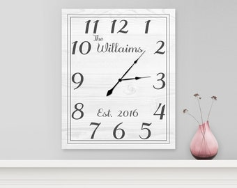 Family Clock, Personalized Last Name Clock, Farmhouse Clock, Custom Family Name Clock, Square Clock - White Pine Home