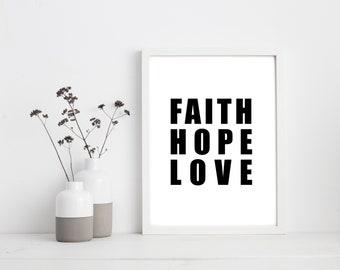 Faith Hope And Love Print | Faith Hope Love Canvas | Inspirational Decor | Motivational Home Decor