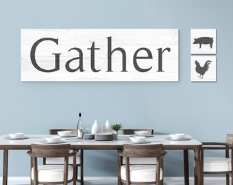 Large Gather Sign, Wood Textured Gather Print, Rustic Gather Canvas - White Pine Home