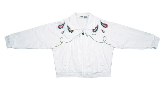 Ellesse - White 'Royal' Bomber Jacket 1990's Large