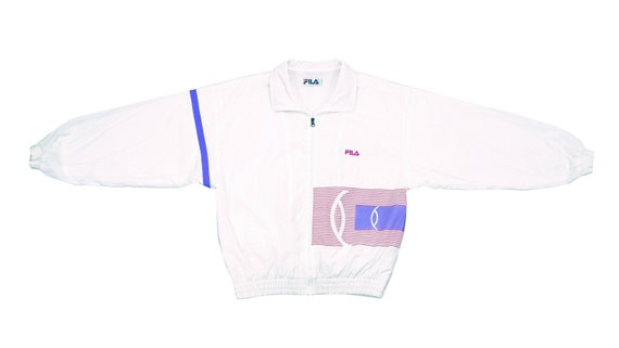 Fila - White 'Spell-out' Bomber Jacket 1990's Medi