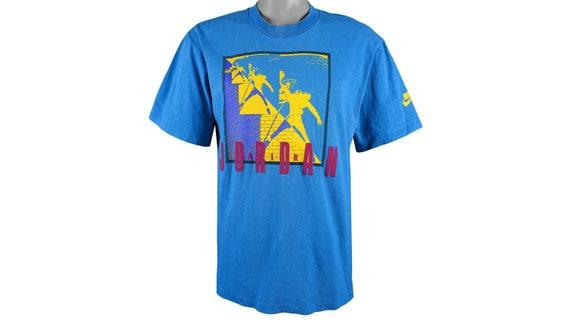 Nike - Blue 'Air Jordan' Big Logo T-Shirt 1990's M