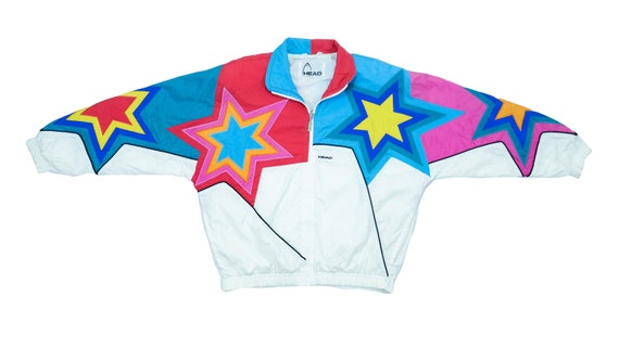 Head - Multicolored Star Bomber Jacket 1990's Medi