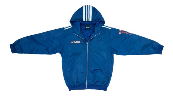 Adidas - Blue Zip Up Hooded Warm Jacket 1990's Med