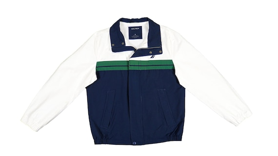 Nautica - Blue, White and Green Spell-Out Jacket 1
