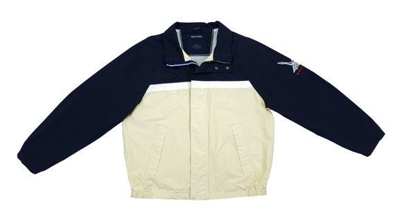 Nautica - Blue & Beige Sailing Jacket 1990's Large