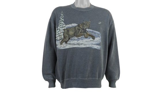 Vintage (Jerzees) - 'Wildlife - Lynx' Sweatshirt 1