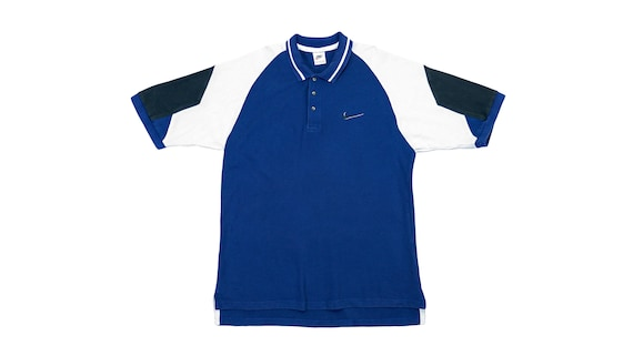 Nike - Blue Collared 1/4 Button Up T-Shirt 1990's