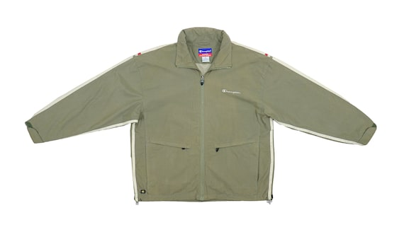 Champion - Brown Zip Up Windbreaker 1990's Large