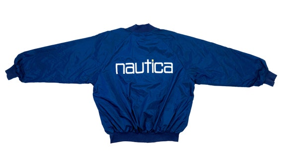 Nautica - Blue 'Spell-out' Jacket 1990's Large