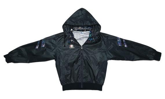 Champion - Black Hooded Bomber Jacket 1990's Large