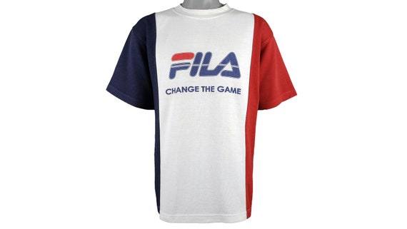 FILA - White, Red & Blue 'Spell-Out' T-Shirt 1990'