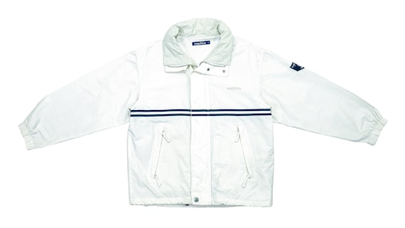 Nautica - White Sailing Jacket 1990's Large