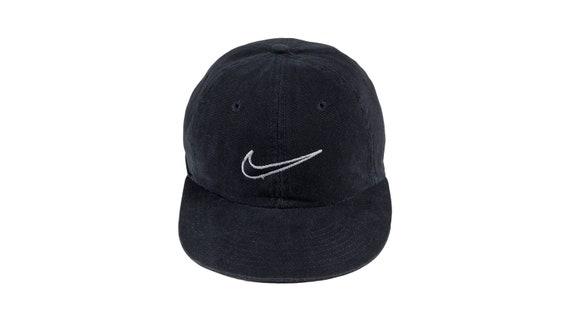 Nike - Black Snapback Hat 1990's Adjustable