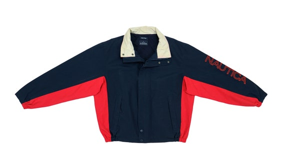 Nautica - Black with Red Spell-Out Jacket 1990's L