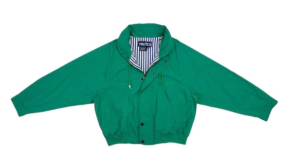 Nautica - Green 'Sailing' Denim Jacket 1990's Larg
