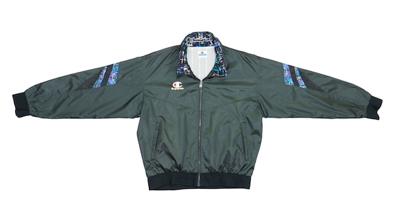 Champion - Black Bomber Jacket 1990's Large