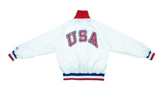 Champion - White 'USA' Satin Jacket 1980's Large