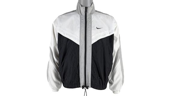 Nike - Black& White Big Logo Windbreaker 1990's Me