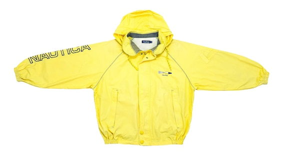 Nautica - Yellow Spell-Out Hooded Jacket 1990's X-