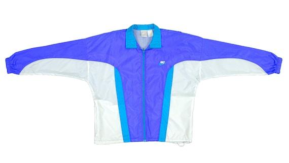 Nike  - Blue & White Windbreaker 1990's Large
