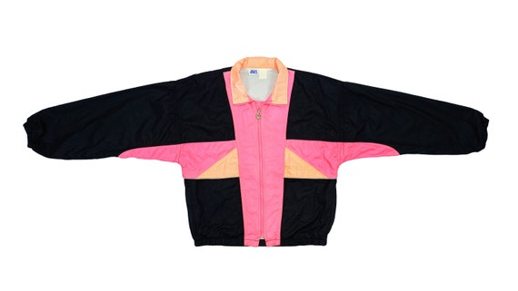 Asics - Black & Pink Colorblock Windbreaker 1990's