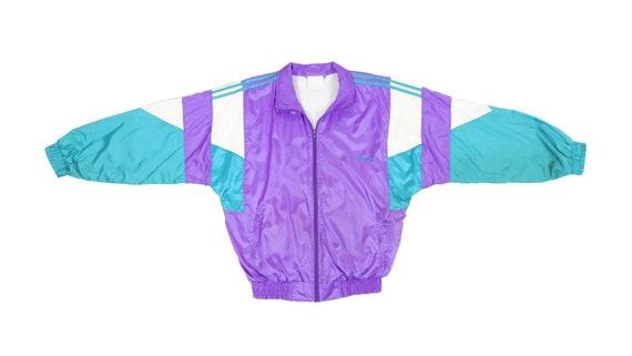 Adidas - Purple Colorblock Windbreaker 1990's Larg