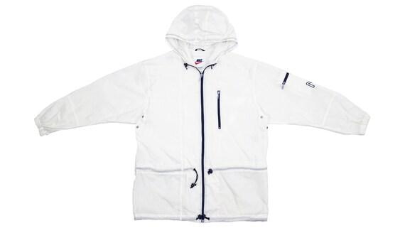 Nike - White Hooded Windbreaker 1990's Large