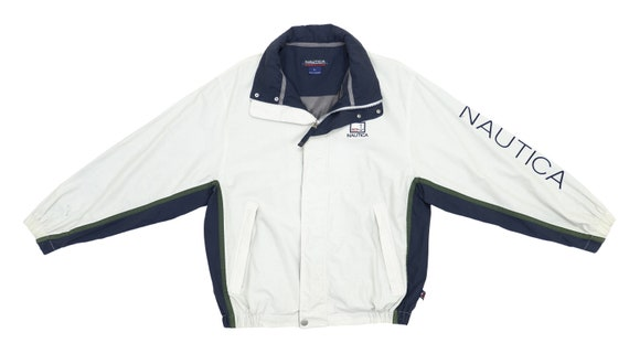 Nautica - White Spell-Out Jacket 1990's Large