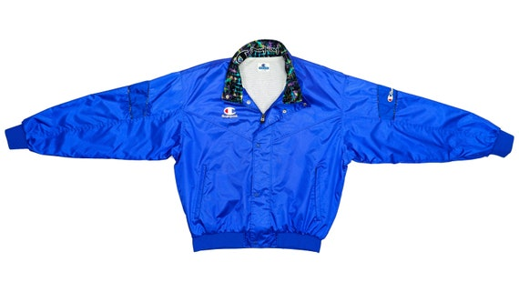 Champion - Royal Blue Bomber Jacket 1990's Large