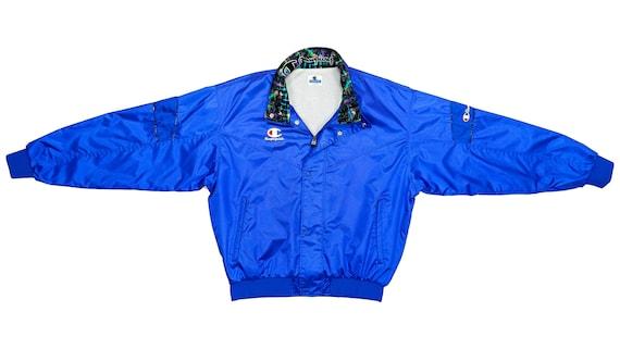 Champion - Royal Blue Bomber Jacket 1990's Large