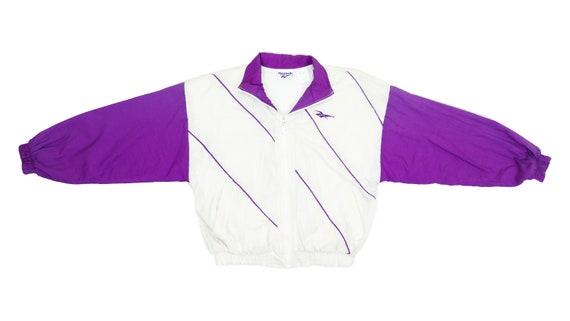 Reebok - White & Purple Windbreaker 1990's Medium