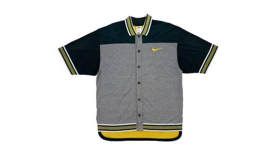 Nike - Grey and Black Mesh Button Up T-Shirt 1990'