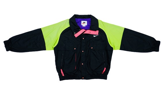 Nike - Black& Green Colorblock Bomber 1990's Large
