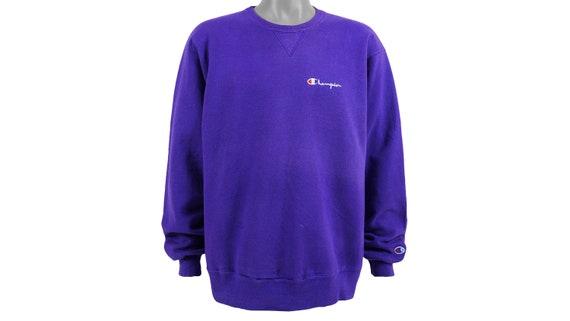 Champion - Blue Crew Neck Sweatshirt 1990's X-Larg