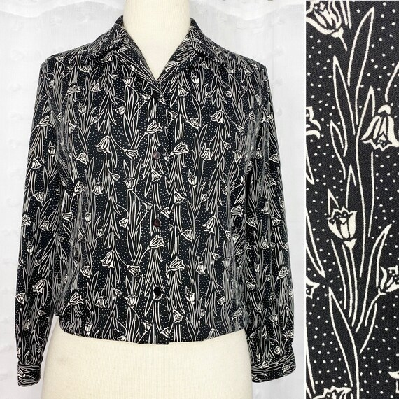 Vtg 70s 80s Graff black & white tulip print top - image 1