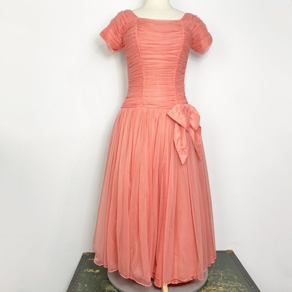 Vtg 60s coral pink drop waist formal dress