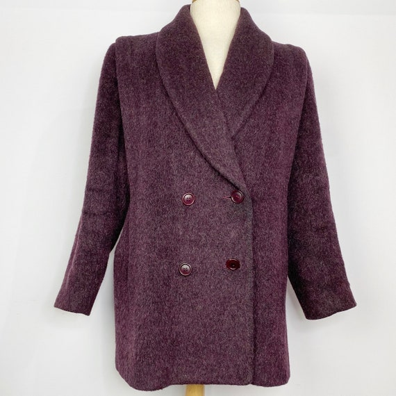 Vintage Ankaret Cresswell 1980s Purple Oversized Wool Blazer