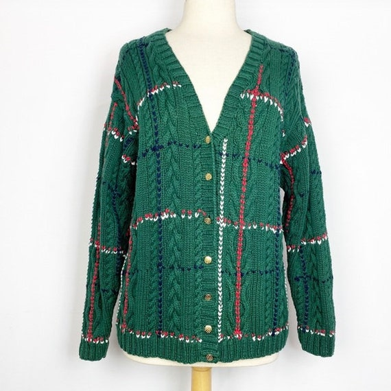 Vtg 80s 90s IZOD oversized green cardigan sweater