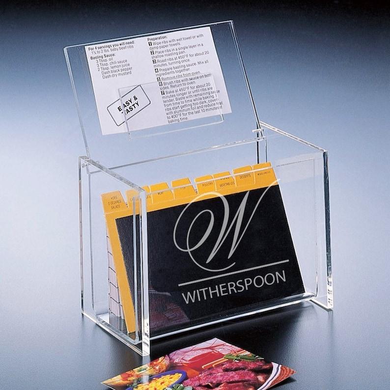 Monogram Personalized Acrylic Recipe Box  Acrylic Recipe Box