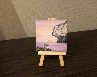 Original mini SUNRISE acrylic painting on canvas