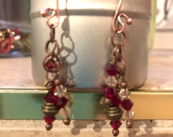 Crystal and Copper Earrings with Brass Accents