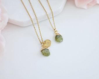 raw peridot necklace