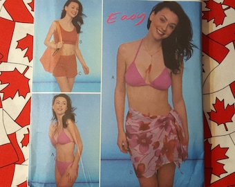9d95861461 String Bikini, Cropped Tank Top, Short Shorts & Simple Sarong/Pareo UNCUT  Easy Sewing Pattern New Look 6980 | Size A 6-16 | Shop in Canada