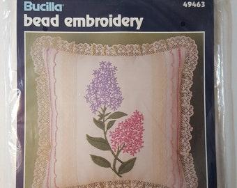 "Bucilla Bead Embroidery Kit 49463 ""Lilacs"" 12"" square plus ruffle"