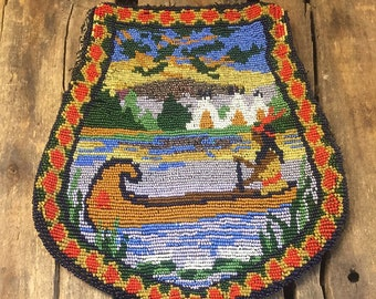 Antique Native American Maiden in Canoe Beaded Bag/Purse - Early 1900's?