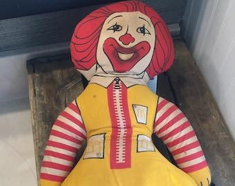 Vintage Original Ronald McDonald Stuffed Doll from the Original McDonald's in Des Plaines, IL