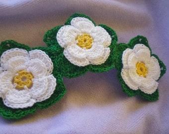 Crochet hair clip, 3 inch clip
