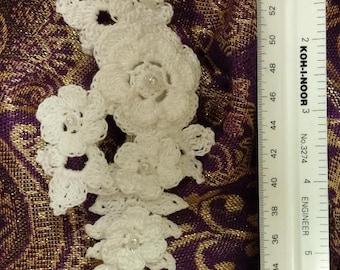 Crochet Irish rose hair barrette